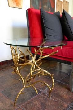 hiver gold leaf end table casamidy