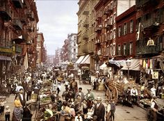 Mulberry Street, op de Lower East Side in Manhattan, circa 1900