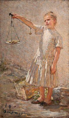 Emilio Longoni, La venditrice di frutta o Ona staderada, 1891, olio su tela, 154x91 cm.   Pinacoteca il Divisionismo