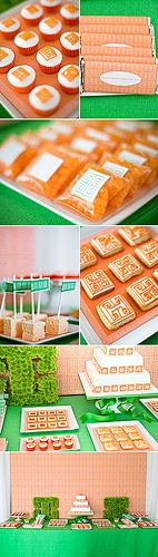 Orange and green oriental inspired dessert table by Amy Atlas