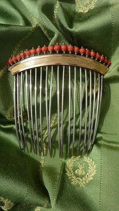 Exquisite French Empire coral silver gold vermeil diadem comb 1798 - from frenchfadedgrandeur on Ruby Lane