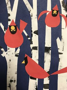 grade Charley Harper inspired Cardinals is part of Science Art Elementary - This week, first grade will be starting a Charley Harper inspired artwork! He was an American artist who simplified nature into bas Charley Harper, Winter Art Projects, School Art Projects, First Grade Art, Grade 1 Art, January Art, Kindergarten Art, Preschool Art, Wow Art