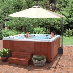 Shade guests in your spa in style with the Island Umbrella Santiago 10 ft. Its cantilevered design allows the canopy. Parasols, Patio Umbrellas, Hot Tub Backyard, Backyard Patio, Pool Porch, Above Ground Pool, In Ground Pools, Outdoor Fun, Outdoor Decor