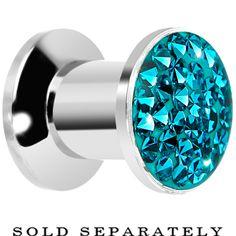 2 Gauge Zircon Blue Ferido Crystal Steel Screw Fit Plug   Body Candy Body Jewelry