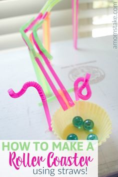 How to Make a roller coaster using straws and hot glue! An easy and fun stem project for homeschool or a grade school science fair project! Inspired by Wonder Park movie. Straw Projects, Science Fair Projects, Projects For Kids, Diy For Kids, Crafts For Kids, Fun Activities For Kids, Creative Activities, Craft Activities, Winter Wonderland Hyde Park