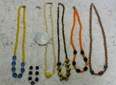 Vintage Glass Bead Mardi Gras Necklaces Lot of 6 & Rex King of Carnival Token