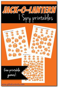 FREE Jack-o-Lantern I Spy printables for Halloween {fun and free Halloween printables} Fun Halloween Games, Cute Halloween Costumes, Holidays Halloween, Halloween Kids, Halloween Themes, Preschool Halloween, Halloween Stuff, Halloween Activities For Kids, Math Activities