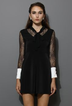 Black Lace Dress with Contrast Cuffs