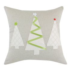 Linen Natural 3 Brushed Trees Pillow in Grey