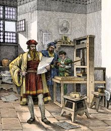 History - Johannes Gutenberg and Johann Fust with the first printing press, Germany, This invention had a profound affect on humanity. Johannes Gutenberg, Indian Art Paintings, Printing Press, Book Projects, Bible Stories, Letterpress, Book Design, Find Art, Framed Artwork