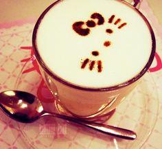 Hello kitty 's  Cappuccino coffee