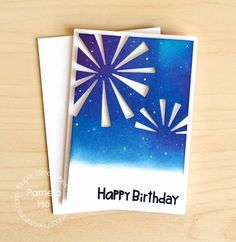 Happy Birthday card by Pamela Ho for Paper Smooches - Fireworks Dies, Digits Happy Birthday Cards, It's Your Birthday, Thanks Words, Diy Cards, Craft Cards, Paper Smooches, Scrapbook Cards, Scrapbooking, Planner Organization