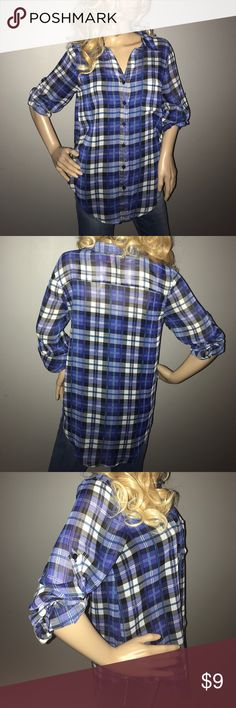 Sheer plaid button up blouse Sheer high low blouse, button up with 3/4 sleeves, collar and front pocket, blue and black plaid, in excellent condition, so fun and cute! Open to Offers 😁 Poof! Tops Blouses