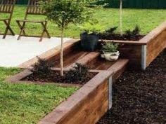 Image result for how to wood retaining wall