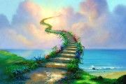"""Stairway to Heaven"" by Thomas Kinkade (Rainbow Bridge) Thomas Kinkade, Stairway To Heaven, Jim Warren, What Is Heaven, 3d Fantasy, Fantasy Landscape, Illustration, Rainbow Bridge, Rainbow Gif"