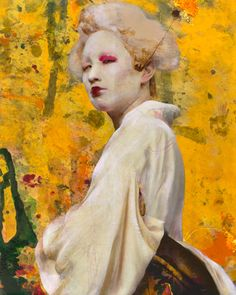 """Dried Tear 52"" - Lita Cabellut (Spanish b. 1961), mixed media fresco on canvas {figurative art asian female head yellow background woman face portrait texture painting} litacabellut.com"