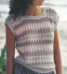 Knit Womans Sleeveless Cotton Top Sweater Pdf /OhhhMama/ p Summer Knitting, Easy Knitting, Crochet Shirt, Crochet Tops, Crochet Pattern, Jacket Pattern, Crochet Fashion, Crochet Clothes, Clothing Patterns