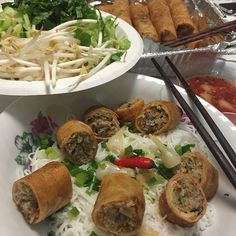 Dinner...Rice noodles with egg rolls #ricenoodle#eggroll#fishsauce#pickle#veggies#cucumber#greenonion#ngonluôn