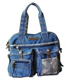 Retro Denim Shoulder Bags with Multi Pockets