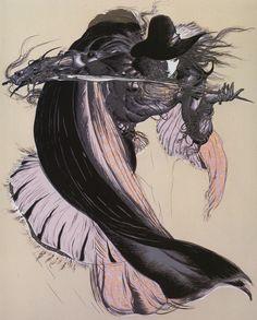 From my 'Coffin: The Art of Vampire Hunter D' artbook by Yoshitaka Amano. Vampire Hunter D, Final Fantasy Art, Dark Fantasy, Male Character, Character Design, Manga Art, Anime Art, Yoshitaka Amano, Japanese Artists