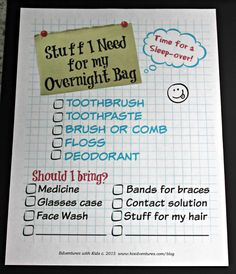 Free printable Packing list for your child's next sleep-over!
