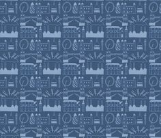 London Skyline Blue fabric by clementine Best Of British, London Skyline, Blue Fabric, Great Britain, Spoonflower, City Photo