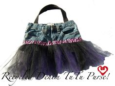 OOAK Kids Recycled Denim Purse Bag in TuTu Times. $29.95, via Etsy.