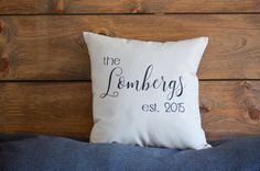 this is a custom made EXAMPLE pillow. insert your last name or the last name of a friend along with the anniversary year the couple was married. || a b o u t t h e p r o d u c t ||  - 16x16 canvas pillow cover - 18x18 - 12x20 - hand-drawn - canvas fabric - black marker   || p e r f e c t f o r ||  - home decor - engagement gift - bridal shower gift - wedding gift - anniversary gift - any gift!   || c u s t o m i z e ||  - custom orders always available! - add last name and anniversary date…