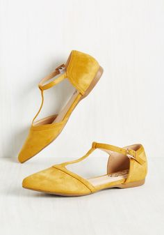 Turn Back Prime Flat in Marigold - Solid, Work, Casual, Minimal, Fall, Good…