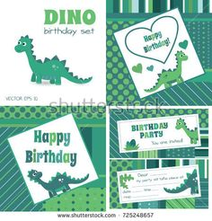 Dino birthday set. Blue and green dinosaur birthday invitation,greetings card, poster, stickers, banners. Smiling,dinosaur cartoon vectors.