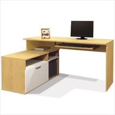 Small Computer Corner Desks with filing drawer | ... Modula L Shape Workstation Secret Maple White Computer Desk | eBay