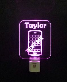 """#CellPhone #iphone #android Personalized LED NIght Light - Unique LED Products 3/8"""" Engraved clear acrylic"""