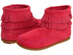 Minnetonka Kids Side Zip Double Fringe Boot Toddler/Little Kid (Hot Pink) Perfect for any Native American Princess!