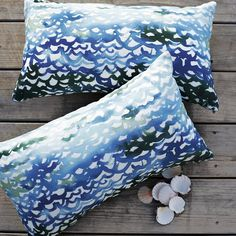 "Outdoor Summer Wave Pillow @west elm $20. 12""l x 21""w."