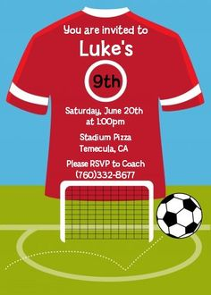 Soccer - Birthday Party Invitations