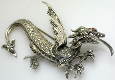 Silver Marcasite dragon brooch.  Photgraph by Gillian Horsup