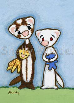 Ferret Art ACEO print Friends 3 Shelly Mundel by ShellyMundelArt