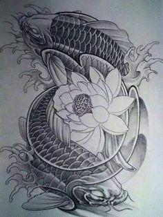 tattoos in japanese prints Ocean Tattoos, Body Art Tattoos, Sleeve Tattoos, Circle Tattoos, Owl Tattoos, Fish Tattoos, Carp Tattoo, Koi Fish Tattoo, Dragon Koi Tattoo Design