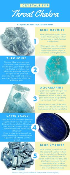 5 Throat Chakra Crystals Which Got Supprising Healing Qualities  #throatchakra #chakracrystal #crystalhealing #chakra #healing #calcite #turquoise #aquamarine Throat Chakra Crystals, Throat Chakra Healing, Chakra Stones, 7 Chakras, Crystals And Gemstones, Stones And Crystals, Gem Stones, Reiki Training, Mudras