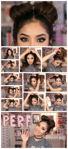 cool Double Bun hair Tutorial... by http://www.danazhairstyles.xyz/hair-tutorials/double-bun-hair-tutorial/ - Looking for Hair Extensions to refresh your hair look instantly? http://www.hairextensionsale.com/?source=autopin-thnew