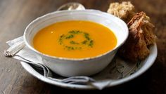 Butternut squash soup recipe with parmesan and parsley purée #healthyrecipes