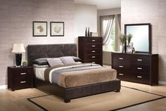 Coaster Furniture – Andreas Queen Casual Bed with Vinyl Padded Headboard – Ikea Bedroom Sets, Master Bedroom Set, Bedroom Furniture Sets, Bedroom Decor, Bedroom Ideas, Queen Bedroom, Modern Bedroom, Casual Bedroom, Bedroom Dressers