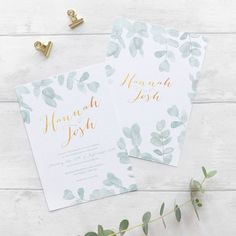 Are you interested in our eucalyptus wedding invitation? With our leafy green and gold wedding invite you need look no further.
