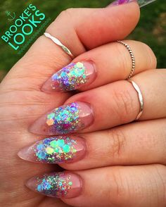Amazing Glitter Acrylic Nail Art Designs for Holiday Parties winter glitter nails; new year nails; Take Off Acrylic Nails, Acrylic Nail Art, Clear Nails, Glitter Nails, Red Glitter, Prom Nails, Wedding Nails, Glitter Wedding, Nail Art Designs