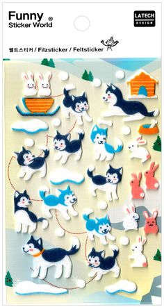 Funny Sticker World Husky Snow Dog Felt Sticker Sheet