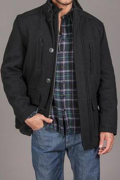 Marc New York/Andrew Marc Keenan Wool Field Coat w. Knit Trim Bib