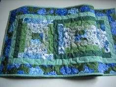 Blue Hydrangea Table Runner by Clothstitched on Etsy, $45.00