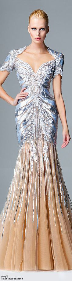 Zuhair Murad Pre-Fall 2014 I'm wild about this gown, however it would really POP if the uninteresting bland flesh colored material was replaced with black. Style Couture, Couture Fashion, Runway Fashion, Zuhair Murad, Beautiful Gowns, Beautiful Outfits, Elegant Dresses, Pretty Dresses, Evening Dresses