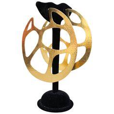 2000s Herve Van Der Straeten extra-large gilded metal hoop earrings For Sale