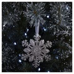 Silver Glitter Snowflake Christmas Tree Decoration